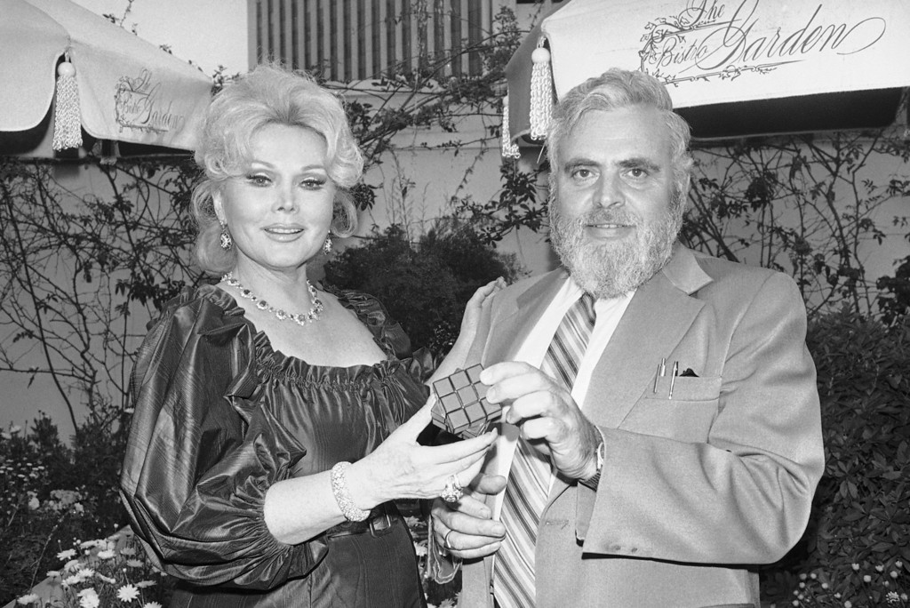 . Actress Zsa Zsa Gabor, a native of Hungary, holds Rubik\'s Cube, a color and geometric puzzle game just being introduced in this country, during meeting with press on Monday, May 6, 1980  in Los Angeles.  (AP Photo/Nick Ut)
