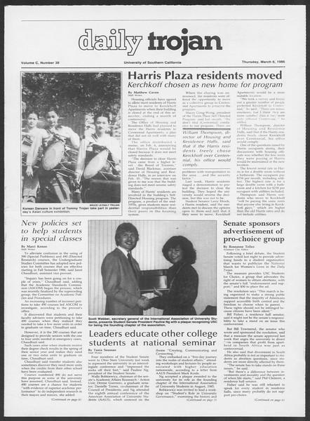 Daily Trojan, Vol. 100, No. 38, March 06, 1986
