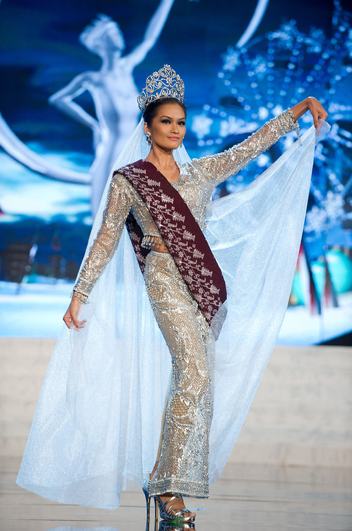 . Miss Philippines 2012, Janine Tugonon, performs onstage at the 2012 Miss Universe National Costume Show on Friday, Dec. 14, 2012 at PH Live in Las Vegas, Nevada. The 89 Miss Universe Contestants will compete for the Diamond Nexus Crown on Dec. 19, 2012. (AP Photo/Miss Universe Organization L.P., LLLP)
