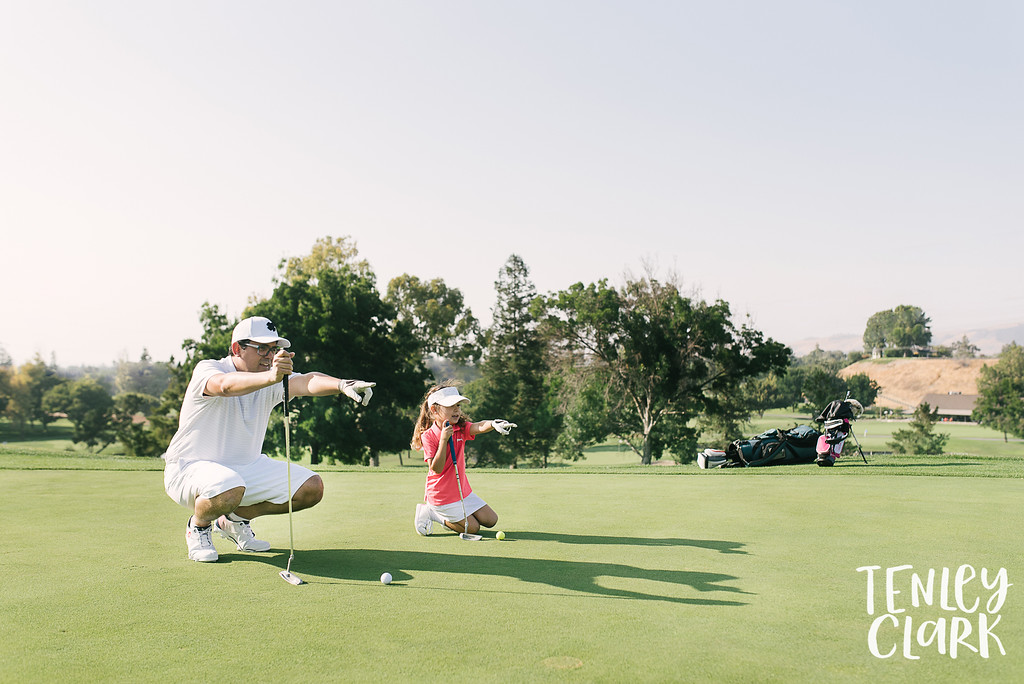 Father- daughter lifestyle golfing photoshoot by Tenley Clark Photography.