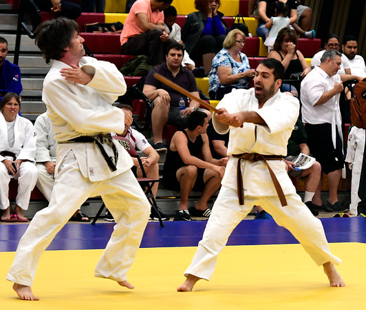 7/21/2018 Mike Orazzi | Staff Charles Schweizer and Vincent Lupo during the Nutmeg Games Judo held at New Britain High School Saturday morning.