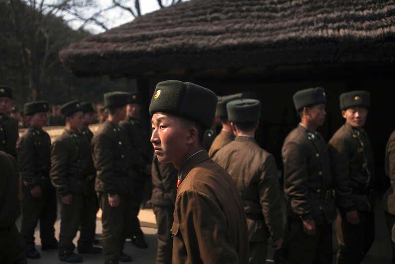 ". North Korean soldiers tour the grounds of the birthplace of the late President Kim Il Sung at Mangyongdae, North Korea on Wednesday April 13, 2011. The nation began to celebrate a three day holiday to mark the 99th anniversary of Kim Il Sung\'s birthday. April 15 is called ""The Day of the Sun\"" in honor of the former guerrilla fighter who founded North Korea in 1948.  (AP Photo/David Guttenfelder)"
