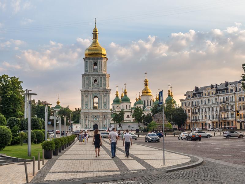 Evening outside St Sophia's Cathedral, Kiev, Ukraine