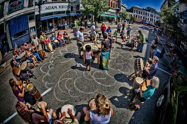 Drum Circle on Pearl Street 2014