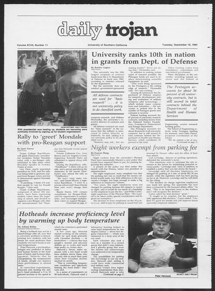Daily Trojan, Vol. 97, No. 11, September 18, 1984