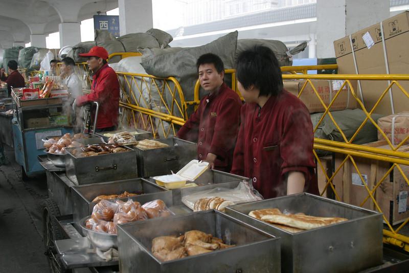 Xian station food vendors, good stuff too Qinghai -Beijing to Tibet Railway, Beijing to Lhasa  Oct  2006
