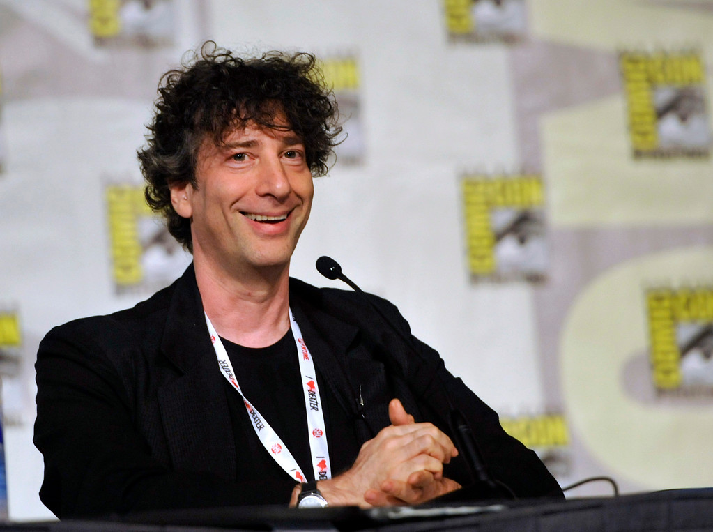 . Writer Neil Gaiman attends the Spotlight on Neil Gaiman panel on Day 5 of Comic-Con International on Sunday, July 21, 2013, in San Diego. Gaiman will be at Playhouse Square on March 9. For more information, visit www.playhousesquare.org/events/detail/neil-gaiman. (Photo by Chris Pizzello/Invision/AP)