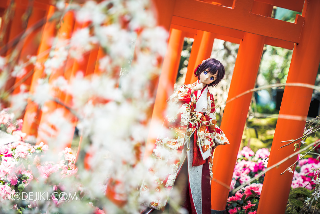 Gardens by the Bay - Sakura Matsuri 2018 floral display - doll in tori gate