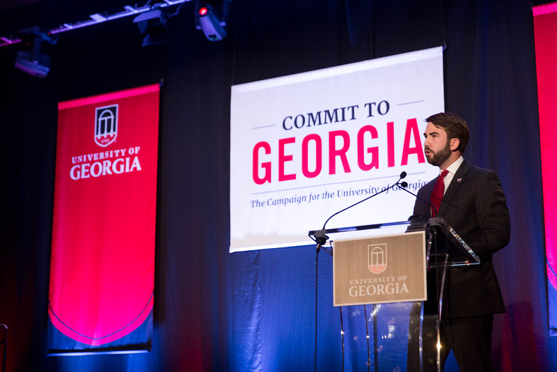 Description: SGA Student Body President Houston Gaines speaks at the Capital Campaign Kickoff Event at the Georgia Aquarium in Atlanta.Date of Photo: 11/17/2016Credit: Andrew Davis Tucker, University of GeorgiaPhotographic Services File: 34431-116The University of Georgia owns the rights to this image or has permission to redistribute this image. Permission to use this image is granted for internal UGA publications and promotions and for a one-time use for news purposes. Separate permission and payment of a fee is required to use any image for any other purpose, including but not limited to, commercial, advertising or illustrative purposes. Unauthorized use of any of these copyrighted photographs is unlawful and may subject the user to civil and criminal penalties. Possession of this image signifies agreement to all the terms described above.