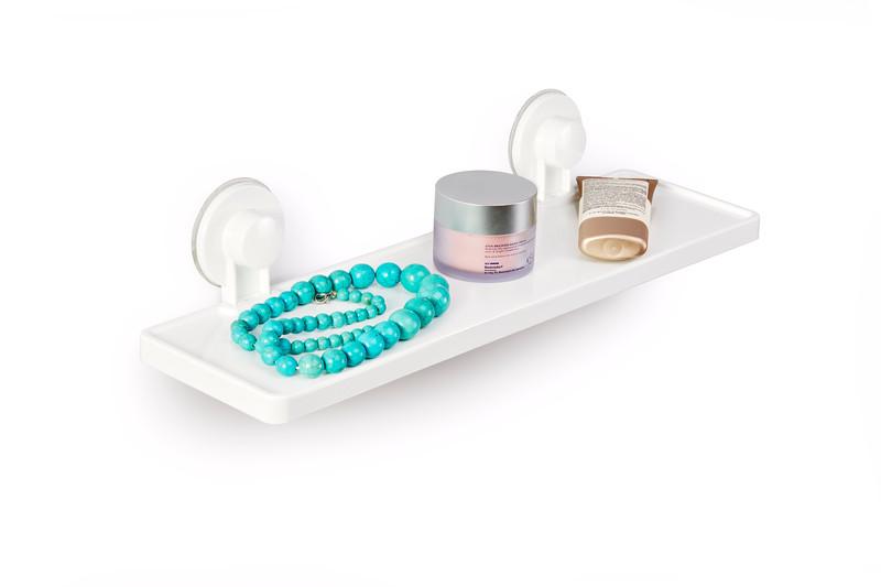 Gelmar Perma Power Suction Bathroom Shelf White