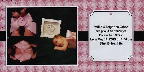 2010-05 Preslie's Birth Announcement