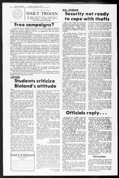 Daily Trojan, Vol. 62, No. 125, May 18, 1971