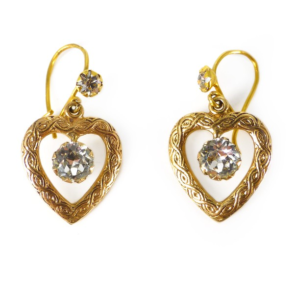 Vintage 9 Carat Gold Paste Heart Drop Victorian Revival Earrings
