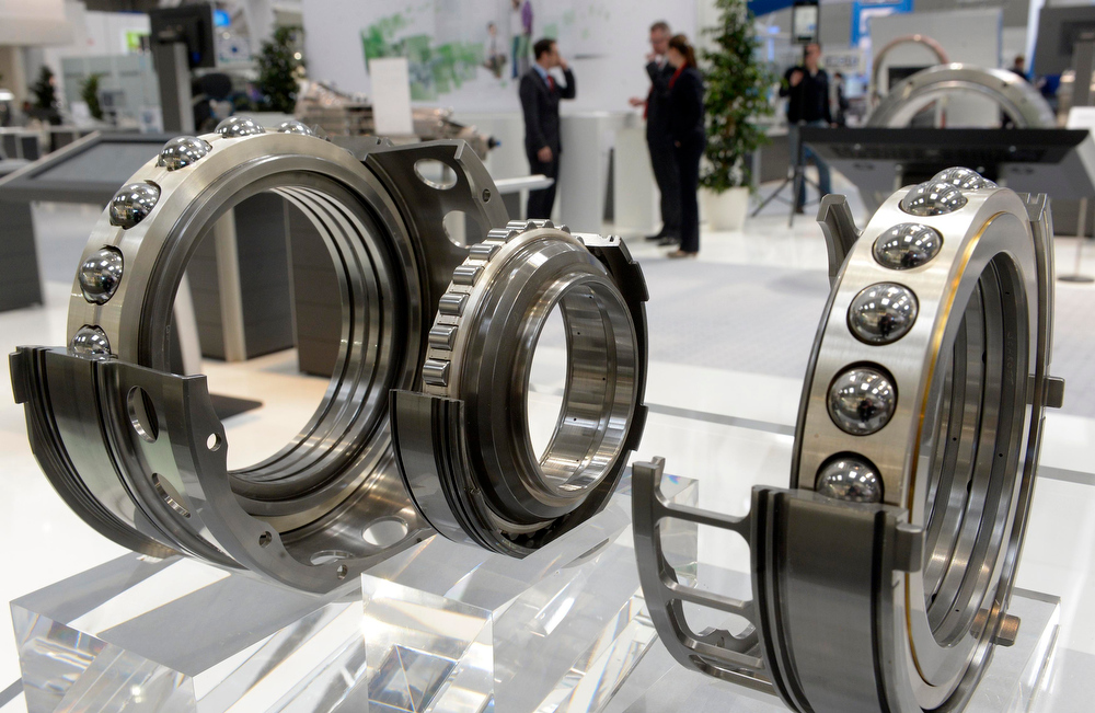 . Ball bearings are pictured at the booth of German company Schaeffler during preparations at the Hanover industrial fair in Hanover April 7, 2013. The Hanover fair opens its doors to the public on April 8 and will end on April 12. REUTERS/Fabian Bimmer