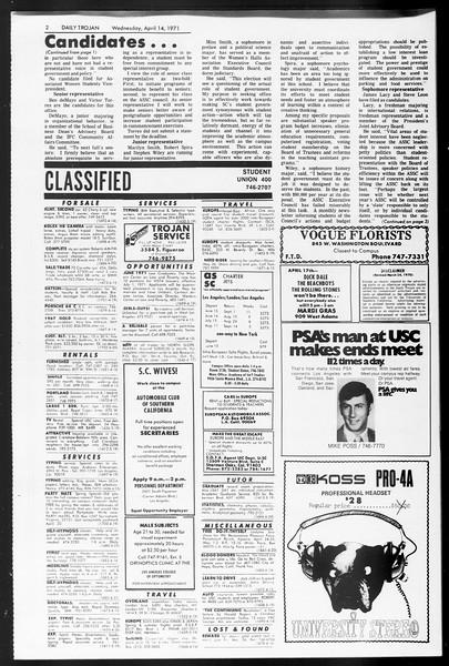 Daily Trojan, Vol. 62, No. 103, April 14, 1971