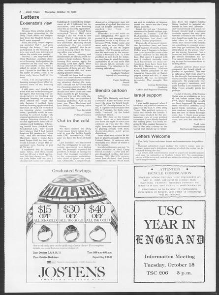 Daily Trojan, Vol. 100, No. 28, October 10, 1985