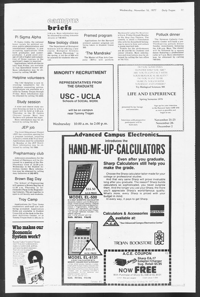 Daily Trojan, Vol. 72, No. 41, November 16, 1977