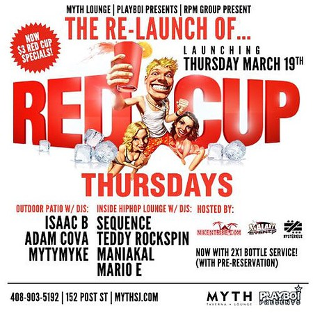 """<FONT SIZE=""""1"""">RED CUP THURSDAYS ARE BACK @ MYTH 3.19.15"""