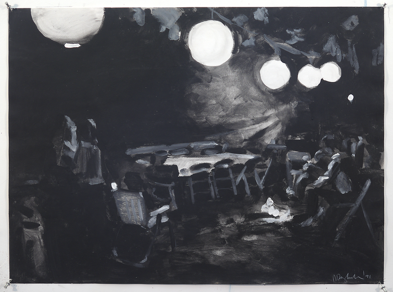 Night Party (b/w); acrylic on paper, 22 x 30 in, 1991