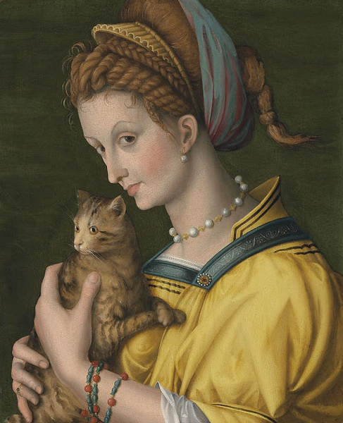 1525 Francesco d'Ubertino Verdi aka Francesco Bacchiacca (1494 Borgo San Lorenzo, Italy - 1557 Florence, Italy) Young Woman Holding a Cat oil on panel.jpg