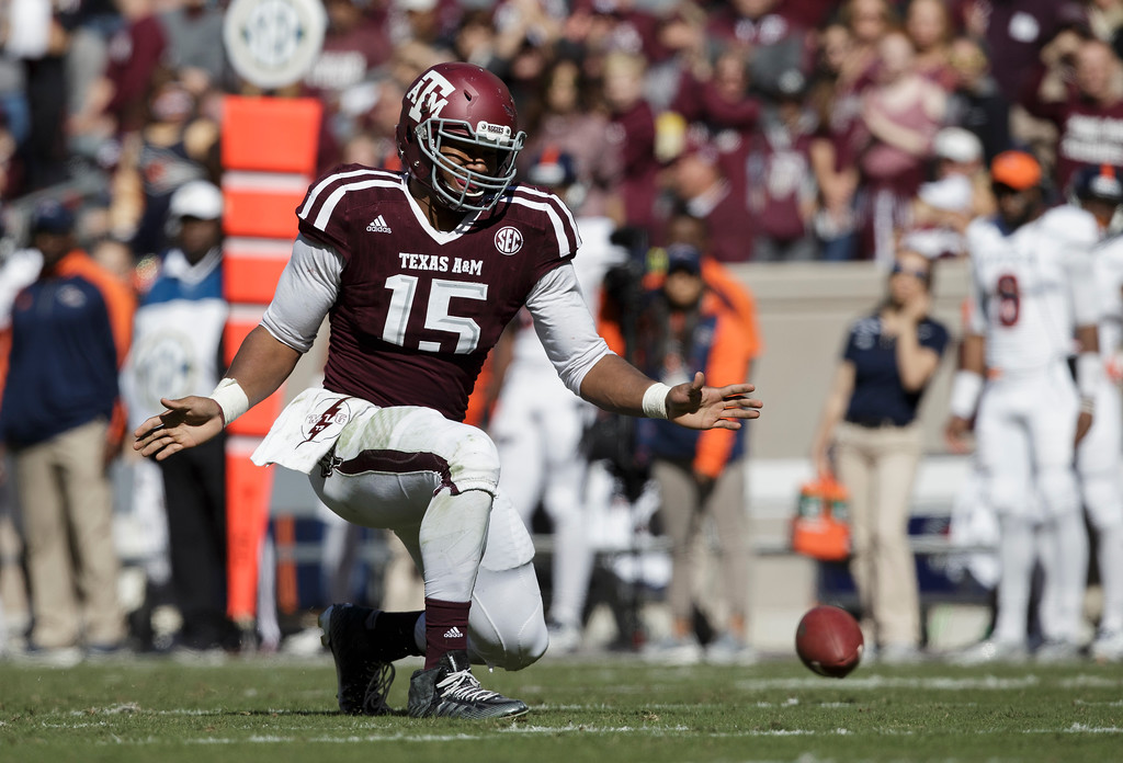 . Texas A&M defensive lineman Myles Garrett (15) reacts after knocking down a pass against UTSA during the third quarter of an NCAA college football game Saturday, Nov. 19, 2016, in College Station, Texas. (AP Photo/Sam Craft)