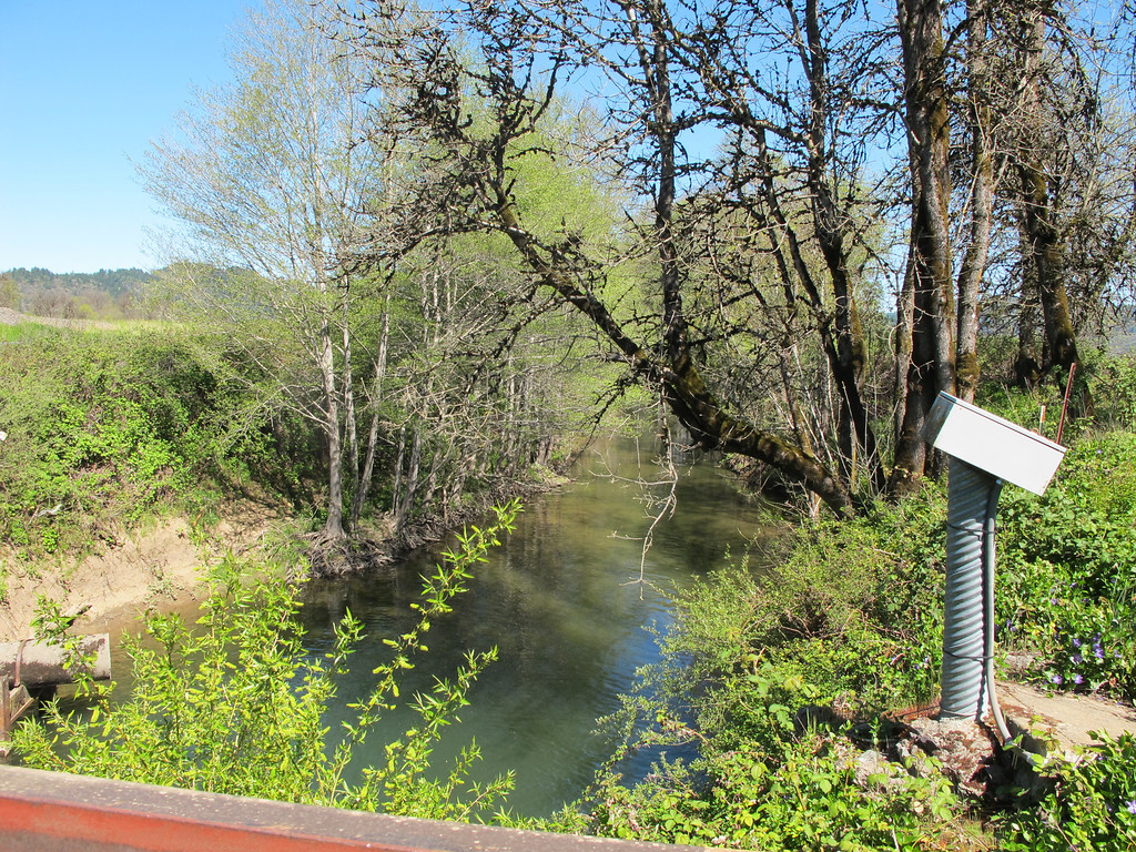 . Looking north from the Willits sewer plant bridge looking at the start of Outlet Creek. The viaduct will cross over this bridge.