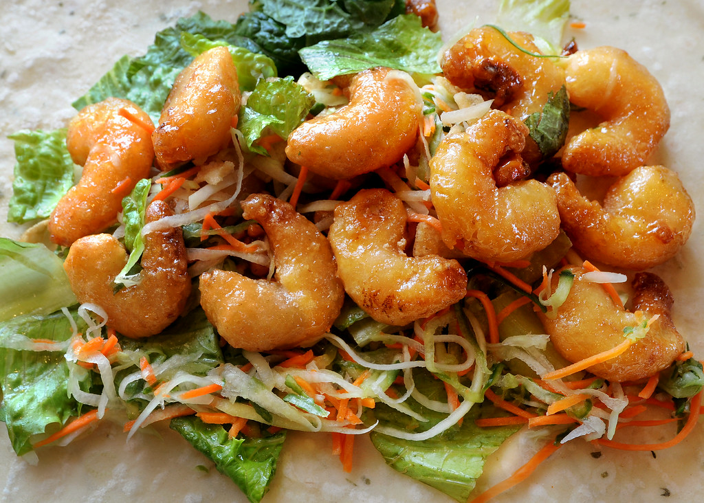 . Sweet and Crispy Wrap, containing Honey Walnut Shrimp and Papaya Slaw with Crispy Wontons at  Panda Express, located at 3867 East Foothill Boulevard in Pasadena Thursday, August 21, 2014.  This unique restaurant is the  location of the chain\'s Innovation Kitchen. Here, consumers can try test cuisine and also contribute their own ideas for new dishes.  (Photo by Walt Mancini/Pasadena Star-News)