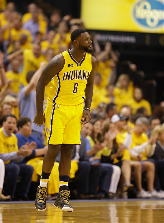 . Indiana Pacers\' Lance Stephenson in action during the first half in Game 3 of a first-round NBA basketball playoff series against the Cleveland Cavaliers,Thursday, April 20, 2017, in Indianapolis. (AP Photo/Michael Conroy)