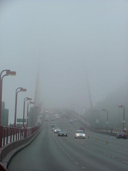 Fog-shrouded bridge