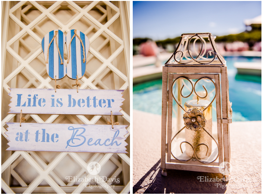 St George Island Beach Wedding | beach house details terrace and lanterns by the pool | Elizabeth Davis Photography