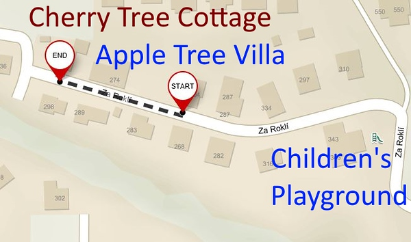 Walk 70 metres from Apple Tree Villa to Cherry Tree Cottage