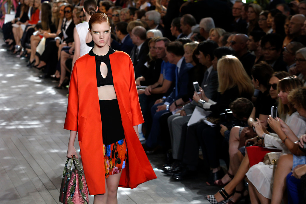 . A model presents a creation as part of Christian Dior\'s ready-to-wear Spring/Summer 2014 fashion collection, presented Friday, Sept. 27, 2013 in Paris. (AP Photo/Christophe Ena)