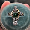 1.01ctw Victorian Emerald (syn) and Diamond Dinner Ring 25