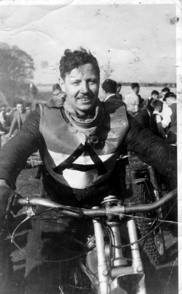 Dad, Bingley Cree, 1947, on same bike as now in the Canadian Motorsports Hall of Fame, Toronto.