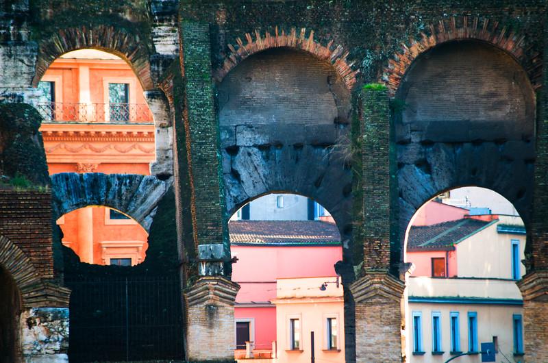 Roman Colosseum Arches - Rome, Italy