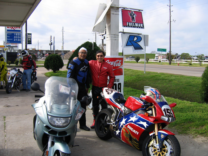 Ray and Fai. Ray's tire tread got too low on this ride and after we dropped his bike off at Mike's shop he got the rare privaledge of riding on the back of my R80/7 back to Houston. He he