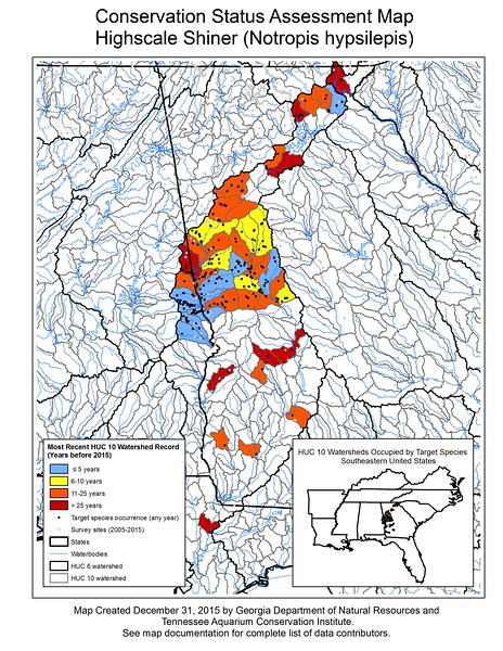 Conservation Status Assessment Map for Highscale Shiner (Notropis hypsilepsis)