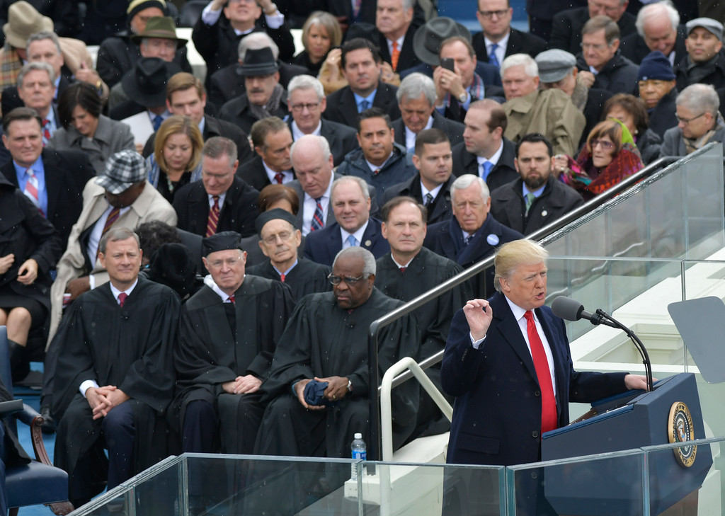 . President Donald Trump delivers his inaugural address after being sworn in as the 45th president of the United States during the 58th Presidential Inauguration at the U.S. Capitol in Washington, Friday, Jan. 20, 2017. (AP Photo/Susan Walsh)