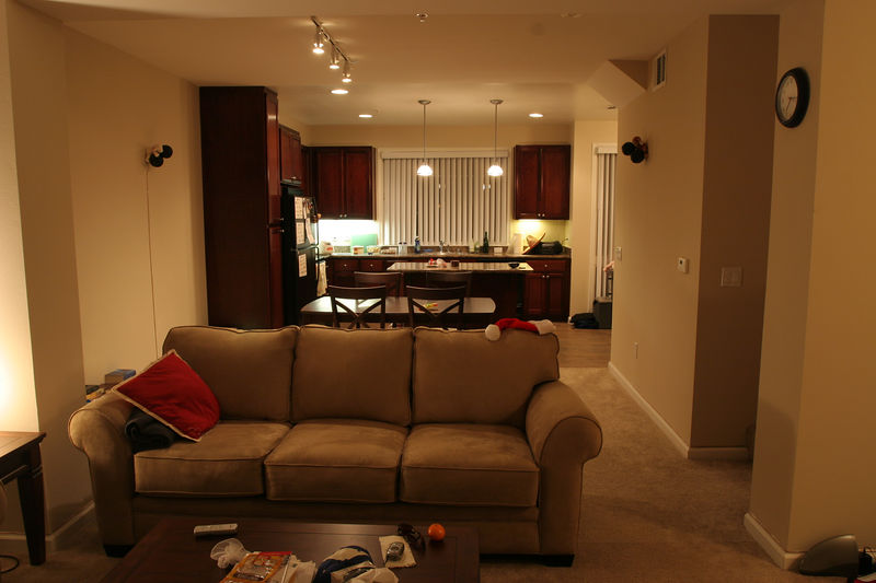 From the living room, you can see into the dining area and kitchen.