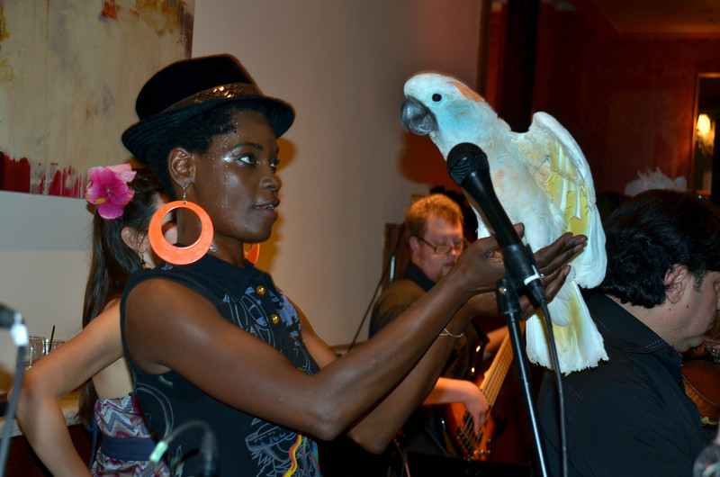 Fely Tchaco and parrot at opening night party for Freddy Clarke's Wobbly World and his mother Pearl's birthday, at Maestro's Restaurant (formerly STARS).