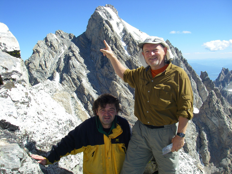 At the top of Middle Teton (12,804ft - 3.902m). Grand Teton (13,770ft = 4.197m) is just east from us.