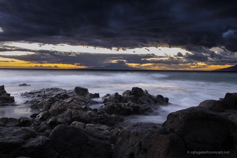 Maui shoreline after sunset