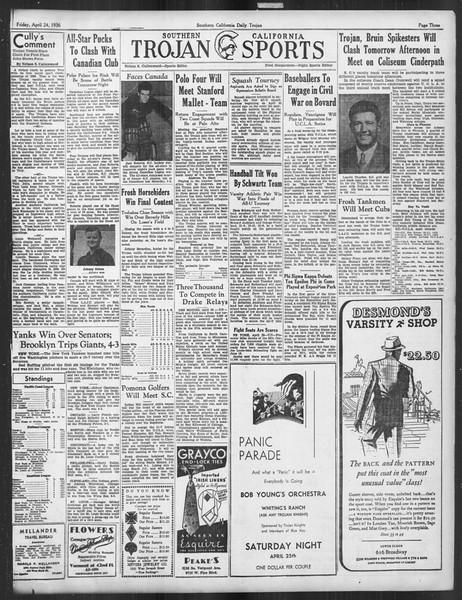 Daily Trojan, Vol. 27, No. 122, April 24, 1936