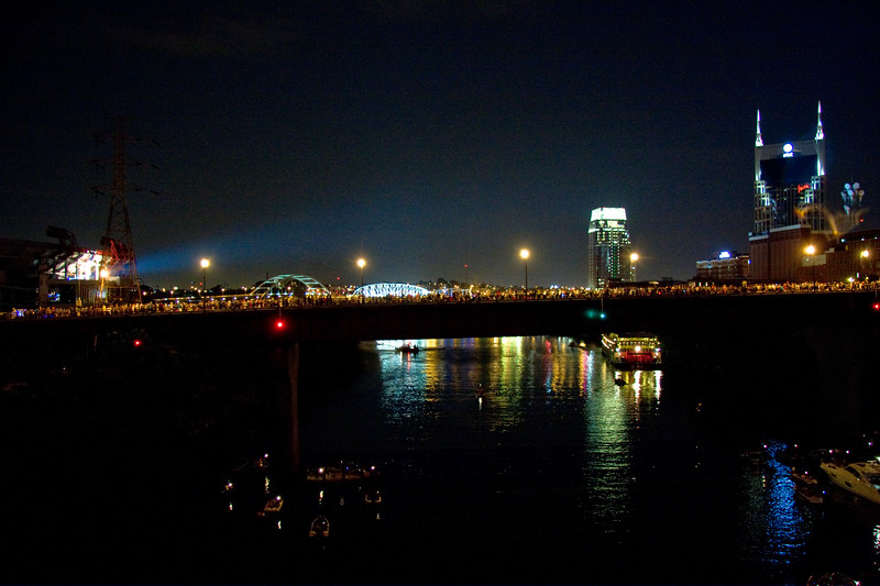 View of the Union St N./Woodland St. bridge, from the James Robertson Parkway bridge, July 4th, 2010, 9:15 PM.