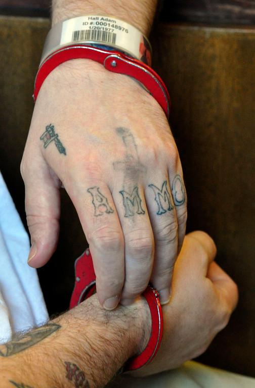 . Adam Lee Hall\'s hand tatoos.  Wed Sept 12, 2012 (GARVER)