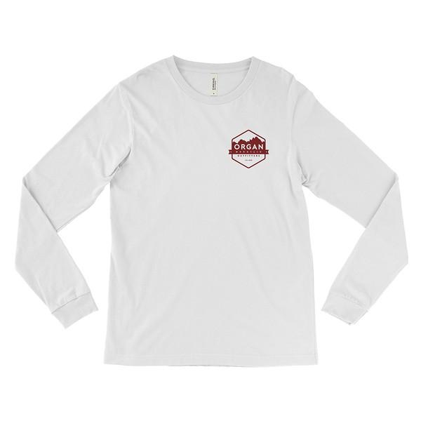 Outdoor Apparel - Organ Mountain Outfitters - Mens - Aggie OMO NMSU Long Sleeve Shirt - White Crimson Front.jpg