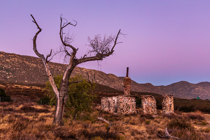 Ruins of the Buckman homestead along Old Highway 80 During Blue Hour