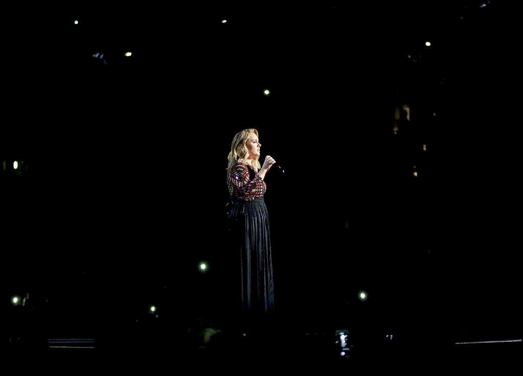 ". Adele performs ""Hello\"" at the 59th annual Grammy Awards on Sunday, Feb. 12, 2017, in Los Angeles. (Photo by Matt Sayles/Invision/AP)"