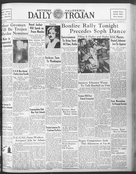 Daily Trojan, Vol. 28, No. 35, November 06, 1936