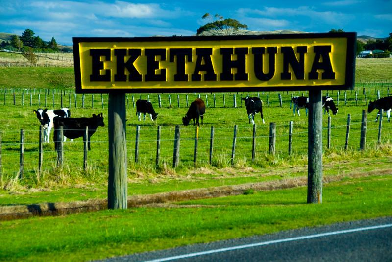Town sign for Eketahuna New Zealand
